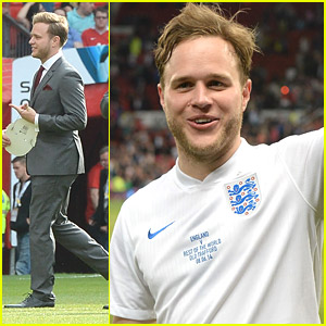 Olly Murs Gets Tackled at Soccer Aid UK 2014 Game