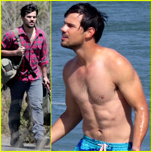 Taylor Lautner Gets Shirtless at the Beach for 'Run the Tide'!