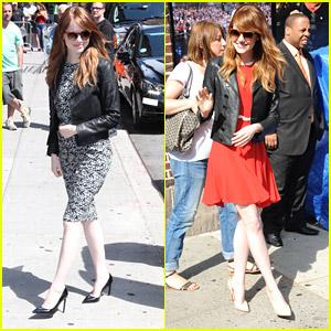 Emma Stone Rocks Her Red-Rimmed Sunglasses at 'Letterman'