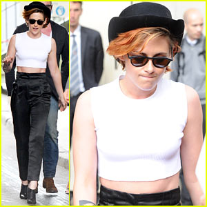Kristen Stewart Keeps Her New Short Haircut Covered with a Hat!