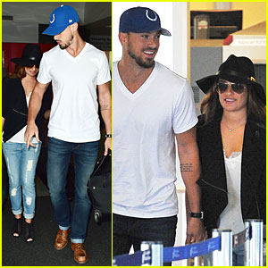 Lea Michele & Boyfriend Matthew Paetz Match in Rolled-Up Jeans at LAX Airport