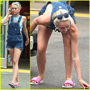 Miley Cyrus Drops Her Earring at a Gas Station