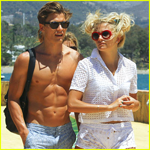 Model Oliver Cheshire Goes Shirtless During Spanish Holiday with Pixie Lott
