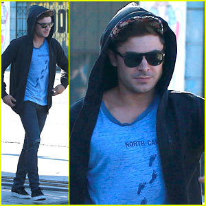 Zac Efron Wears His Hoodie Over His Hat at Lunch