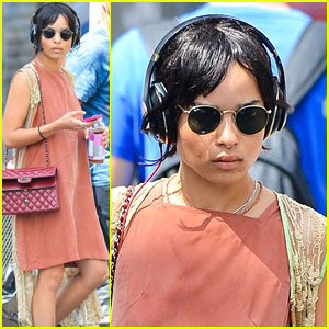 Zoe Kravitz Stays Cool in a Coral Dress in NYC!