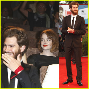 Emma Stone Sits Behind Andrew Garfield at '99 Homes' Venice Film Festival Premiere