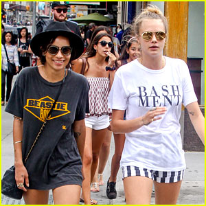 Cara Delevingne Hangs Out with Gal Pal Zoe Kravitz