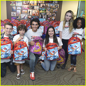 Girl Meets World's Sabrina Carpenter & August Maturo Stuff Backpacks with Disney VoluntEARS