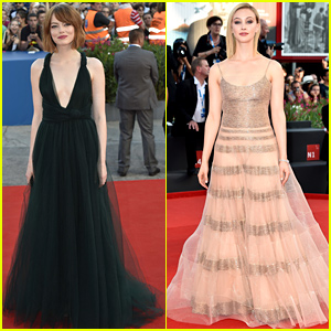 Emma Stone Premieres 'Birdman' in a Low Cut Dress