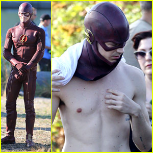 Grant Gustin Suits Up & Strips Down For 'The Flash' Filming in Vancouver