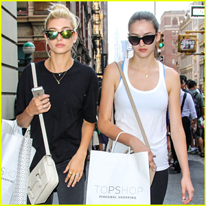 Hailey Baldwin Hits Topshop with Sister Alaia Before Spending Late Night Out in NYC
