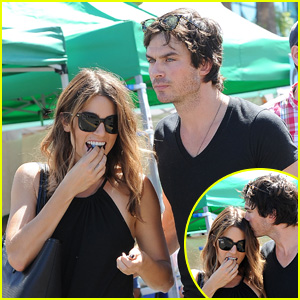 Ian Somerhalder Plants a Smooch on Nikki Reed's Forehead at the Farmers Market