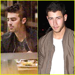 Joe Jonas Grabs Brazilian BBQ While Nick Jonas Eats Solo in LA