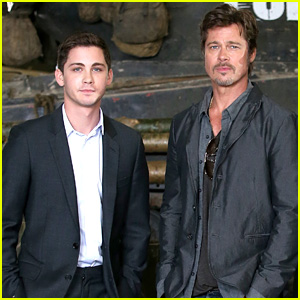 Logan Lerman Promotes 'Fury' with Newly Married Brad Pitt