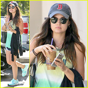 Lucy Hale Picks Up Coffee Before Hollister Twitter Q&A Session