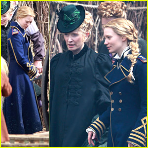Mia Wasikowska Wears Naval Blues on 'Through The Looking Glass' Set