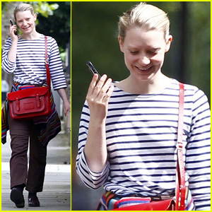 Mia Wasikowska Takes a Funny Phone Call in London