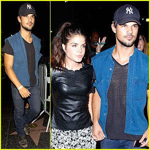Taylor Lautner & Girlfriend Marie Avgeropoulos Hold Hands After Concert in Hollywood