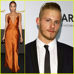Ashley Madekwe & Alexander Ludwig Glam Up for amfAR Gala in Milan