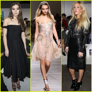 Hailee Steinfeld & Ellie Goulding Look On as Cara Delevingne Hits the 'Topshop' Catwalk