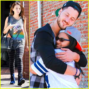 Val Chmerkovskiy Hugs It Out With A Fan After DWTS Practice with Janel Parrish