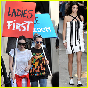 Kendall Jenner & Cara Delevingne Hold Protest Signs After Walking for Karl Lagerfield