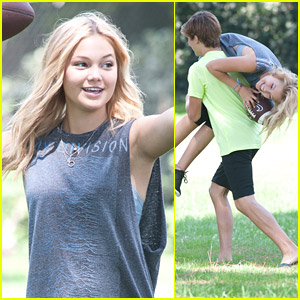 Olivia Holt's Brother Cade Carries Her Away After Playing Football In The Park & It's The Cutest Thing