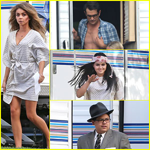 Sarah Hyland & Ty Burrell Are a Colorful Pair on 'Modern Family' Set!