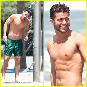 Shirtless Spencer Boldman Plays Around in the Pacific; Admits Crush on Selena Gomez