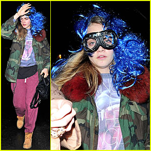Cara Delevingne Sports Blue Wig For Thorpe Park's Fright Night