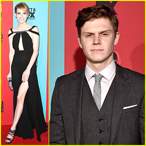 Emma Roberts & Fiance Evan Peters Are Perfect Hollywood Couple at 'American Horror Story: Freak Show' Premiere