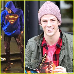 Grant Gustin Turns Into Superman on 'Flash' Set