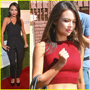 Janel Parrish Celebrates Club Tacori After DWTS Practice with Val Chmerkovskiy