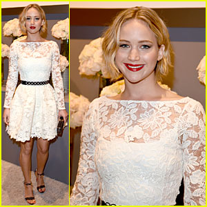 Jennifer Lawrence Keeps It White & Lacy at Elle Women in Hollywood Celebration