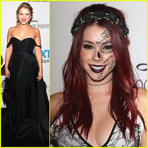 Taylor Spreitler & Jillian Rose Reed: Dark Dresses & Dark Lips At UNICEF's Halloween Ball
