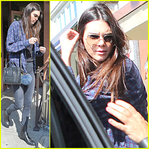 Kendall Jenner Is a Plaid Model at Lunch in Beverly Hills