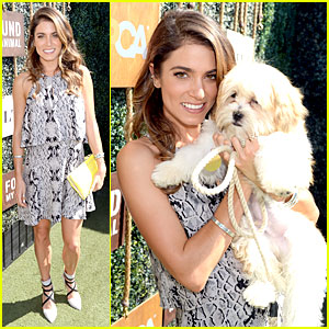Nikki Reed Cuddles Adorable Adoptable Puppy at Dog Leash And Collar Launch