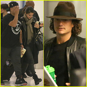 Selena Gomez Walks Steps Ahead of Orlando Bloom at the Airport