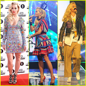 Rita Ora Wears The Union Flag & Mustache For Radio 1 Teen Awards