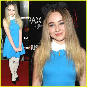 Sabrina Carpenter Dresses Up As Alice In Wonderland For 'Horns' Premiere