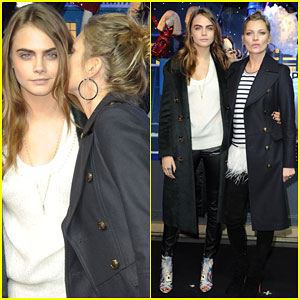Cara Delevingne Looks Pumped for Christmas at Printemps