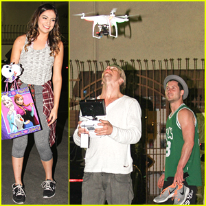 Derek Hough Flies A Drone Over Bethany Mota At The Dance Studio