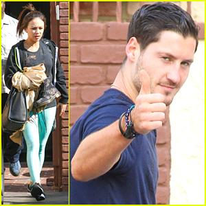 Janel Parrish Catches Val Chmerkovskiy Becoming A Rockstar During DWTS Practice
