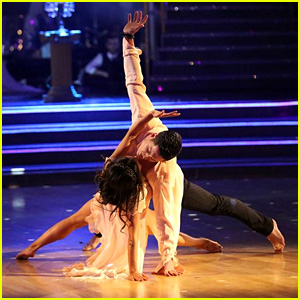 Janel Parrish & Val Chmerkovskiy Nearly Kiss During Perfect 'DWTS' Routine - See the Pics!