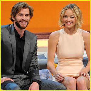 Jennifer Lawrence & Liam Hemsworth Look Happy to Promote 'Mockingjay'