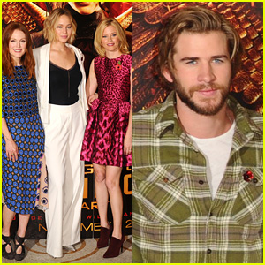 Jennifer Lawrence & Liam Hemsworth Buddy Up for 'Hunger Games: Mockingjay' Photo Call in London