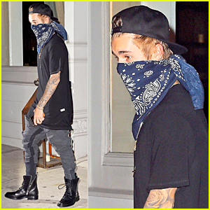 Justin Bieber Still Gets Recognized Under Blue Bandana