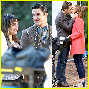 Lea Michele & Darren Criss Are Gleeful During Egging Scene