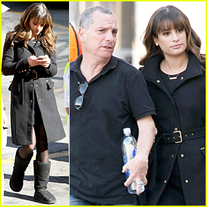 Lea Michele Catches Up with Dad Marc on 'Glee' Set