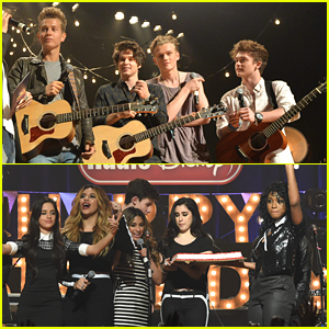 The Vamps Join Fifth Harmony At Radio Disney's Birthday Bash After Stopping By The Set of 'Jessie'